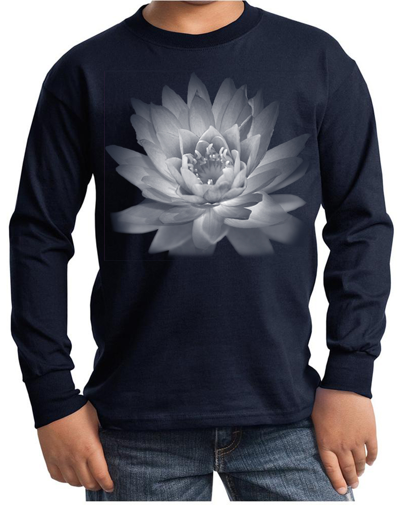 Kids yoga t shirt lotus flower youth long sleeve shirt Yoga shirts with sleeves