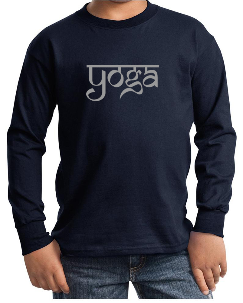 Kids yoga t shirt sanskrit yoga text youth long sleeve for Photo t shirts with text