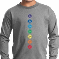 Kids Yoga Tee Diamond Chakras Youth Long Sleeve
