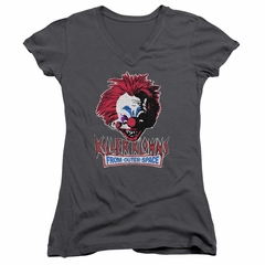 Killer Klowns From Outer Space Juniors V Neck Shirt Rough Clown Charcoal T-Shirt
