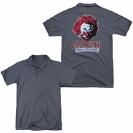 Killer Klowns From Outer Space Polo Rough Clown Charcoal Back Print Golf Shirt