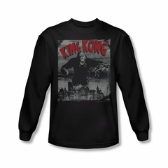 King Kong Shirt City Poster Long Sleeve Black Tee T-Shirt