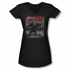 King Kong Shirt Juniors V Neck City Poster Black Tee T-Shirt