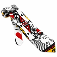 King Of Hearts Tie Multicolor Polyester Necktie � Mens Sports Neck Tie