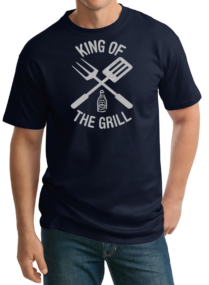 King of the grill tall t shirt barbecue utensils adult tee for Big and tall cool shirts