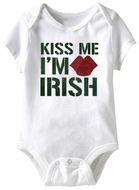 Kiss Me I'm Irish Funny Baby Romper White Infant Babies Creeper
