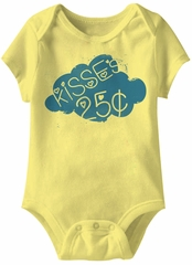 Kisses 25 Cents Funny Baby Romper Yellow Infant Babies Creeper