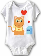 Kitty Loves Milk Funny Baby Romper White Infant Babies Creeper