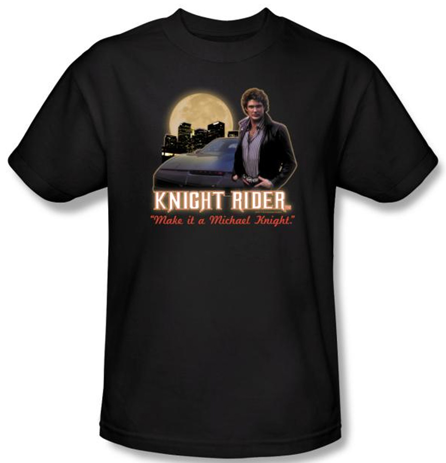 Knight rider t shirt full moon adult black tee shirt for Full black t shirt