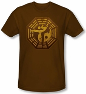 Kung Fu Yin Yang T-shirt - Mens Brown Martial Arts Tee Shirt