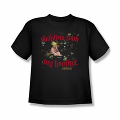Labyrinth Shirt Kids Goblins Took My Brother Black Youth Tee T-Shirt