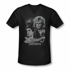 Labyrinth Shirt Slim Fit V Neck Anniversary Black Tee T-Shirt