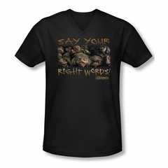Labyrinth Shirt Slim Fit V Neck Say Your Right Words Black Tee T-Shirt