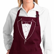 Ladies Apron Basic White Tuxedo Full Length Apron with Pockets