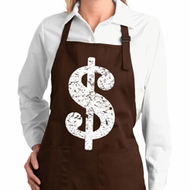 Ladies Apron Distressed Dollar Sign Full Length Apron with Pockets