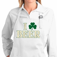 Ladies Apron I Love Beer Full Length Apron with Pockets