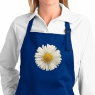 Ladies Apron White Daisy Full Length Apron with Pockets