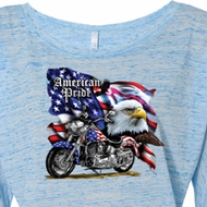 Ladies Biker Shirt American Pride Motorcycle Off Shoulder Tee T-Shirt
