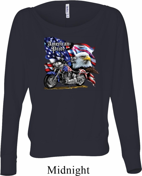 Ladies Biker Shirt American Pride Motorcycle Off Shoulder