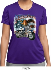 Ladies Biker Shirt American Steel Moisture Wicking Tee T-Shirt