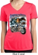 Ladies Biker Shirt American Steel Moisture Wicking V-neck Tee T-Shirt