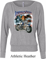 Ladies Biker Shirt American Steel Off Shoulder Tee T-Shirt