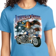 Ladies Biker Shirt American Steel Tee T-Shirt