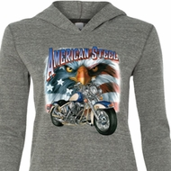 Ladies Biker Shirt American Steel Tri Blend Hoodie Tee T-Shirt