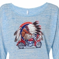 Ladies Biker Shirt Big Chief Indian Motorcycle Off Shoulder Tee