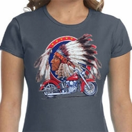 Ladies Biker Shirt Big Chief Indian Motorcycle Crewneck Tee T-Shirt