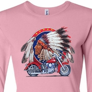 Ladies Biker Shirt Big Chief Indian Motorcycle Long Sleeve Tee T-Shirt