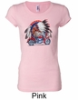 Ladies Biker Shirt Big Chief Indian Motorcycle Longer Length Tee
