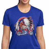Ladies Biker Shirt Big Chief Indian Motorcycle Moisture Wicking Tee