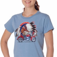 Ladies Biker Shirt Big Chief Indian Motorcycle Organic Tee T-Shirt