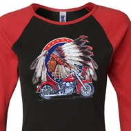 Ladies Biker Shirt Big Chief Indian Motorcycle Raglan Tee T-Shirt