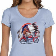 Ladies Biker Shirt Big Chief Indian Motorcycle Scoop Neck Tee T-Shirt