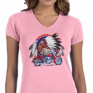 Ladies Biker Shirt Big Chief Indian Motorcycle V-neck Tee T-Shirt