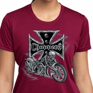 Ladies Biker Shirt Chopper Cross Skeleton Moisture Wicking Tee T-Shirt