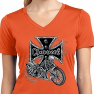 Ladies Biker Shirt Chopper Cross Skeleton Moisture Wicking V-neck Tee