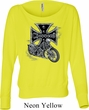 Ladies Biker Shirt Chopper Cross Skeleton Off Shoulder Tee T-Shirt