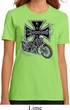 Ladies Biker Shirt Chopper Cross Skeleton Organic Tee T-Shirt
