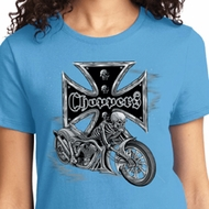 Ladies Biker Shirt Chopper Cross Skeleton Tee T-Shirt