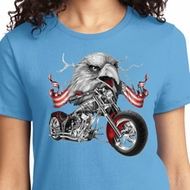 Ladies Biker Shirt Eagle Biker Tee T-Shirt