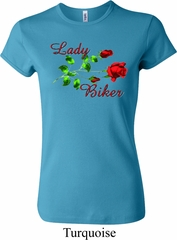 Ladies Biker Shirt Lady Biker Crewneck Tee T-Shirt