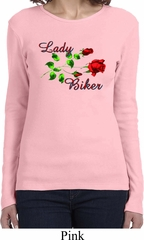 Ladies Biker Shirt Lady Biker Long Sleeve Tee T-Shirt