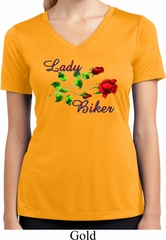 Ladies Biker Shirt Lady Biker Moisture Wicking V-neck Tee T-Shirt