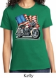 Ladies Biker Shirt Motorcycle Flag Tee T-Shirt
