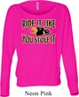 Ladies Biker Shirt Ride It Like You Stole It Off Shoulder Tee T-Shirt