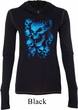 Ladies Biker Shirt Screaming Blue Skulls Tri Blend Hoodie Tee T-Shirt