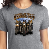 Ladies Biker Shirt Who Let The Hawgs Out Tee T-Shirt